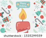 burning candle gifts bells and... | Shutterstock .eps vector #1535299559