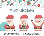 group santa with bag and gift... | Shutterstock .eps vector #1535299580