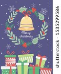 wreath bell gift boxes... | Shutterstock .eps vector #1535299586