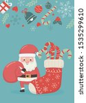santa with bag and sock candy... | Shutterstock .eps vector #1535299610