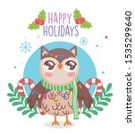 cute owl with scarf and candy... | Shutterstock .eps vector #1535299640