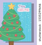 decorated tree star balls merry ... | Shutterstock .eps vector #1535299646