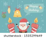 santa candles bell ball... | Shutterstock .eps vector #1535299649