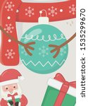 santa hands snowman with ball... | Shutterstock .eps vector #1535299670