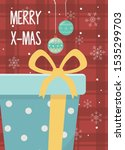 hanging balls wrapped gift box... | Shutterstock .eps vector #1535299703