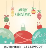 decorative balls ornament merry ... | Shutterstock .eps vector #1535299709
