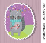 cute raccoon with candy cane... | Shutterstock .eps vector #1535299730