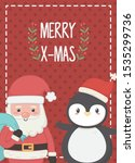 santa with bag and penguin... | Shutterstock .eps vector #1535299736