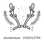 merry christmas deer horns... | Shutterstock .eps vector #1535312759