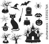 halloween black and white icons ... | Shutterstock .eps vector #153531764