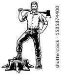 lumberjack worker posing by... | Shutterstock .eps vector #1535374400
