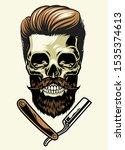 bearded barberman skull with... | Shutterstock .eps vector #1535374613