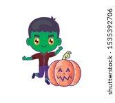 boy disguised of frankenstein... | Shutterstock .eps vector #1535392706