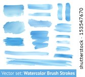 Set Of Blue Watercolor Brush...