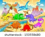 dinosaurs rainbow in landscape. ... | Shutterstock .eps vector #153558680