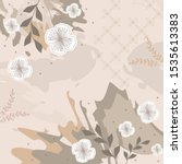 leaf and flower scarf pattern... | Shutterstock .eps vector #1535613383