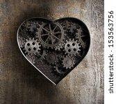 Metal Heart With Rusty Gears...