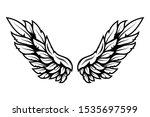 illustration of wings in tattoo ...   Shutterstock . vector #1535697599