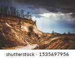 Dried Cracked Landslide And...