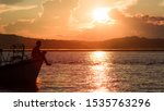Sunset At The Irrawaddy River ...
