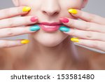 colored manicure  woman face... | Shutterstock . vector #153581480