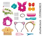 womens hair clips and elastic... | Shutterstock .eps vector #1535863823