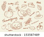 thanksgiving icon doodle vector ... | Shutterstock .eps vector #153587489