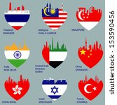 set of cities skylines in heart ...   Shutterstock .eps vector #153590456