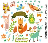 vector set of cute woodland and ... | Shutterstock .eps vector #153591263