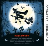 spooky card for halloween. blue ... | Shutterstock .eps vector #153595100