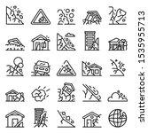 Landslide Icons Set. Outline...