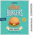 Vintage Burgers Poster. Vector...