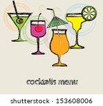 menu cocktails for cafe.   Shutterstock .eps vector #153608006