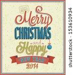 merry christmas typographic... | Shutterstock .eps vector #153610934