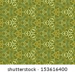 ornamental green seamless (background with flowers)  - stock photo