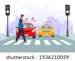 crosswalk accident. pedestrian... | Shutterstock .eps vector #1536210059