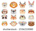 funny animals in flower wreaths.... | Shutterstock .eps vector #1536210080