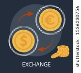 """Vector illustration of investment & exchange concept with """"exchange"""" money and currency icon. - stock vector"""