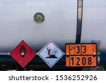 Small photo of Labels and plates with danger number in a tank truck,mandatory in the transport of dangerous goods.