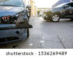 Small photo of Two cars had a collision accident and suffered severe material damage.