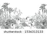 seamless border black and white ... | Shutterstock .eps vector #1536313133