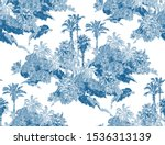 seamless pattern cobalt blue... | Shutterstock .eps vector #1536313139