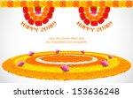 illustration of flower rangoli... | Shutterstock .eps vector #153636248