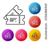 black line cinema ticket icon... | Shutterstock .eps vector #1536386969