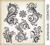 floral vintage swirly design... | Shutterstock .eps vector #153640700