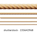 Set of different thickness ropes. Vector illustration