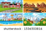 set of scenes in nature setting ... | Shutterstock .eps vector #1536503816