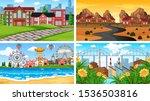 set of scenes in nature setting ...   Shutterstock .eps vector #1536503816