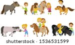 small kid characters petting... | Shutterstock .eps vector #1536531599