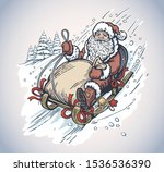 happy santa with gift bag ... | Shutterstock .eps vector #1536536390